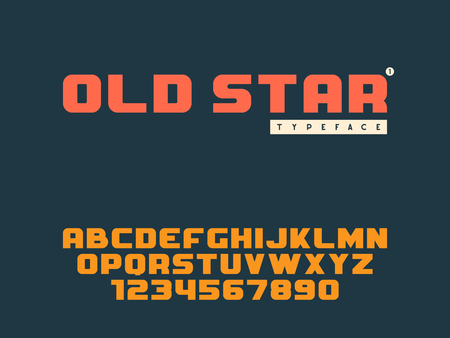 Vector latin uppercase alphabet letters and numbers. Retro font