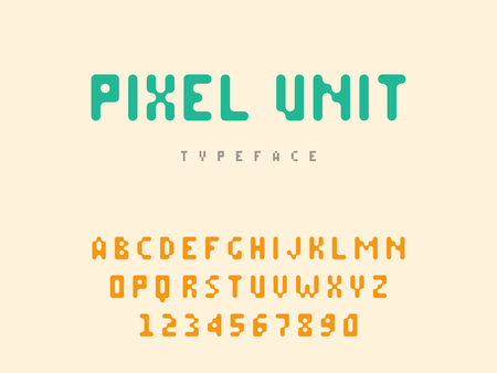 Vector pixel latin alphabet letters and numbers. Rounded pixel font Stock Illustratie