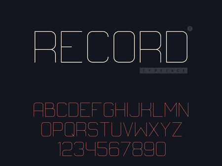 Vector thin line uppercase font. Latin alphabet letters and numbers Stock Illustratie