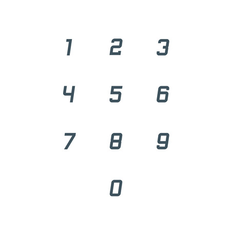 Set of 0-9 number icons. Vector illustration