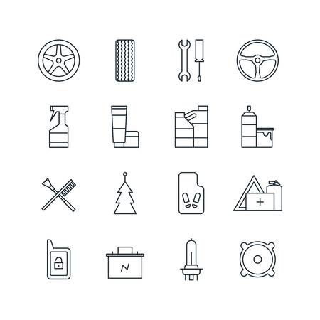 Set of car accessories line icons. Vector illustration