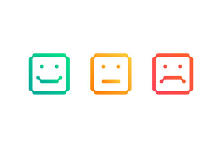 Set of square emoticon icons. Vector illustration