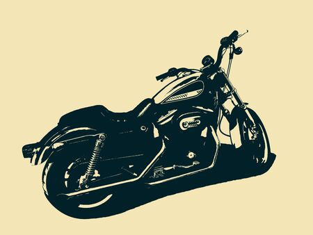 Classic motorcycle isolated. Black and white illustration Stock Illustratie