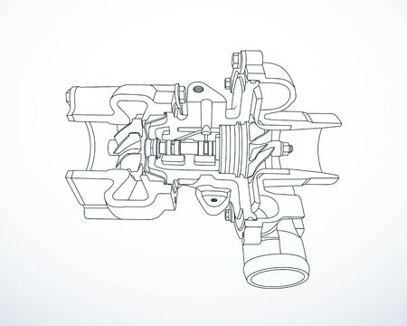Outline of sectioned turbocharger. Vector illustration