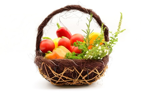 Fruots, vegetables and herbs in the basket Stock Photo