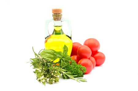 Oil, herbs and potatoes Stock Photo