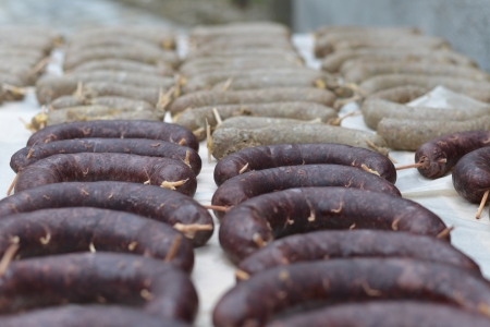 Black pudding and White pudding Stock Photo