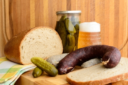 White puddink, bread and beer Stock Photo