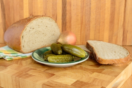 Bread and gherkin
