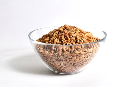 spelled wheat in glass bowl