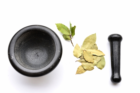 Mortar and Pestle wirh dry and Fresh Bay leaves Stock Photo