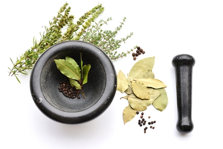Herbs and Spices with Mortar and Pestle Stock Photo