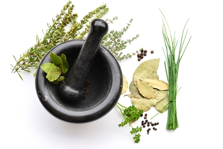 Mortar and Pastle with fresh and Dry herbs and Spices