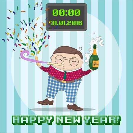 baile caricatura: Nueva tarjeta de greating Año con el carácter divertido de la historieta. Feliz Año Nuevo, concepto de negocio. Ilustración del vector.
