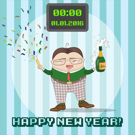 New Year greating card with funny cartoon  character . Happy New Year, business concept. Vector illustration.