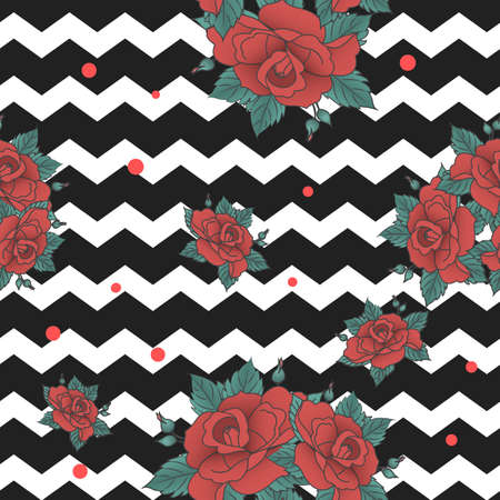 anchored: Vector seamless pattern, anchored with a flower on a background of black and white stripes fashion background.