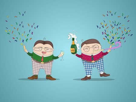 baile caricatura: fondo de año nuevo con personajes de dibujos animados divertidos. Feliz Año Nuevo, concepto de negocio. Ilustración del vector.