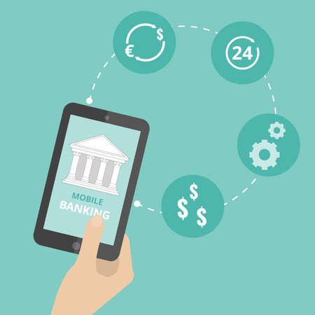 banking concept: Mobile banking concept. Flat stylish icon design Illustration