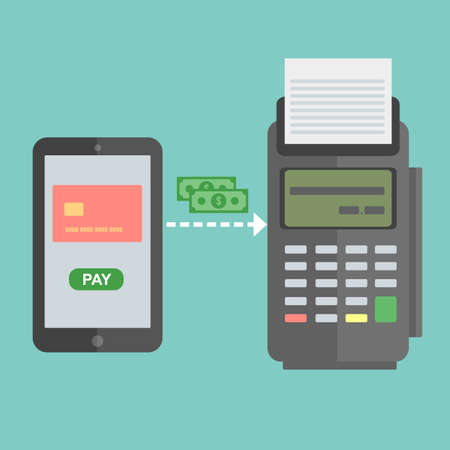 confirms: Nfc payment flat design style illustration, pos terminal confirms the payment using a smartphone. Mobile payment.