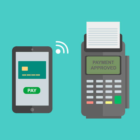 nfc: Nfc payment flat design style illustration, pos terminal confirms the payment using a smartphone. Mobile payment.