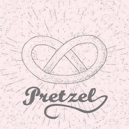 bretzel: Doodle stylized vector illustration of pretzel. Hand drawn pretzel illustration.