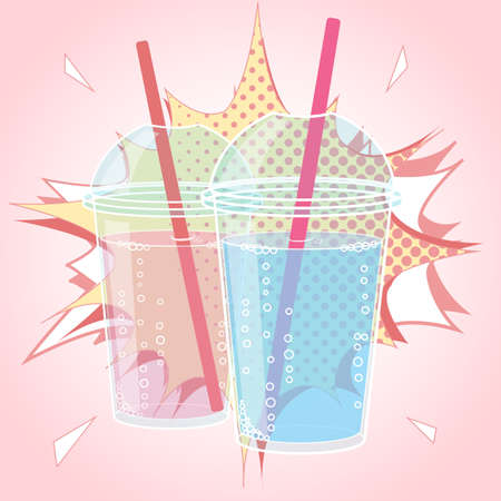 tubule: Smoothie design in pop art style comic style vector illustration. Bubble Tea or Milk Cocktail. Glass of drink with tubule. Retro illustration of bubble tea or milkshake on background. Can be used for greeting cards, party invitations or menu. Vector.