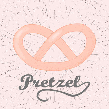 bretzel: Doodle stylized vector illustration of pretzel. Hand drawn pretzel illustration.