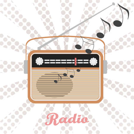 retro radio: Retro radio vector  illustration. Music sound from retro radio vector  illustration