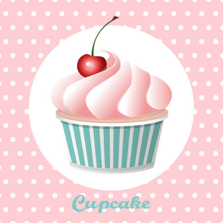fancy pastry: Cherry cupcake on a polka  dot background, vector illustration.