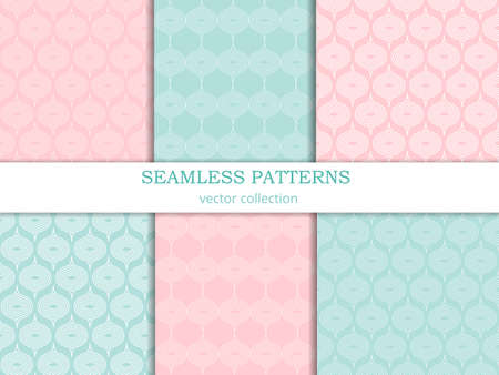 pastel shades: Collection of vector seamless patterns  in pastel shades. Endless texture can be used for wallpaper, pattern fills, web page background,surface textures. Set of  geometric ornaments in retro style.