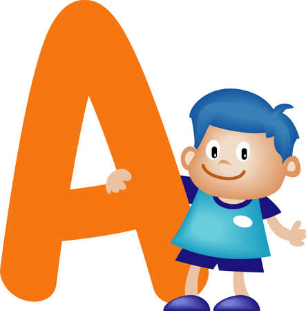 Boy with Alphabet letter A Stock Photo