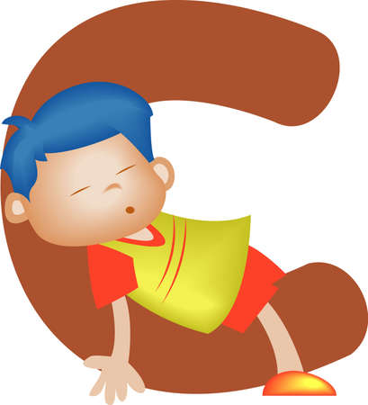 orthographic: Boy with Alphabet letter C