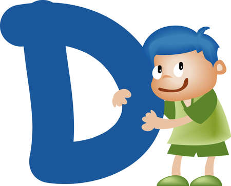 writing materials: Boy with Alphabet letter D