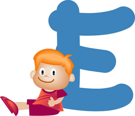 writing materials: Boy with Alphabet letter E Stock Photo