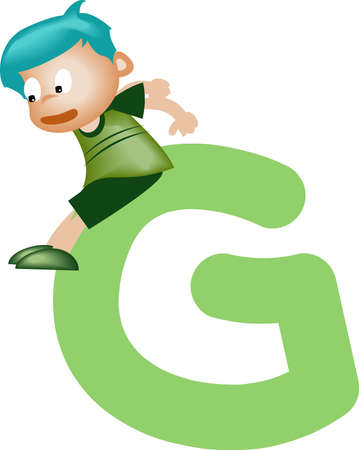 writing a letter: Boy with Alphabet letter G