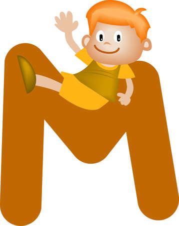 orthographic: Boy with Alphabet letter M