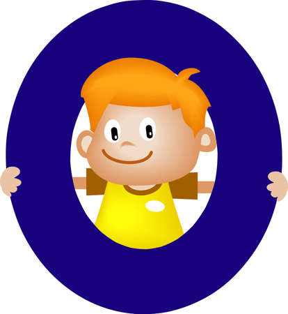 orthographic: Boy with Alphabet letter O