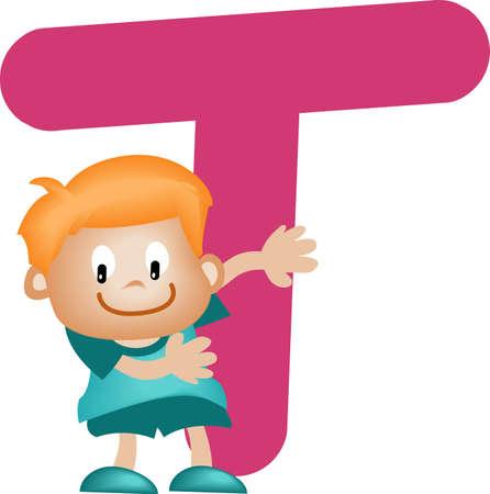 tipos de letras: Alfabeto Boy con letra T