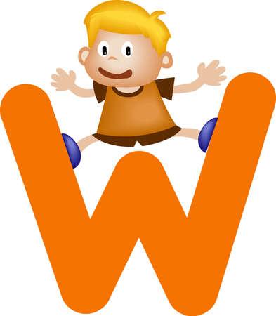 Boy with Alphabet letter W photo
