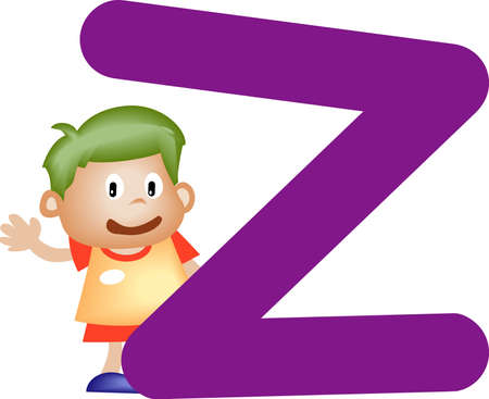 Boy with Alphabet letter Z