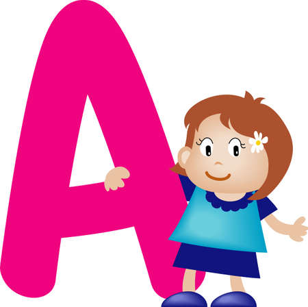 Girl with Alphabet letter A photo