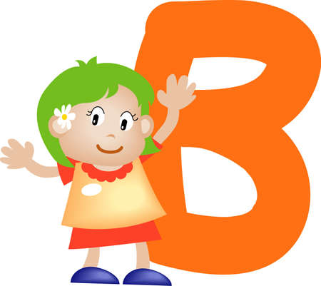 orthographic: Girl with Alphabet letter B
