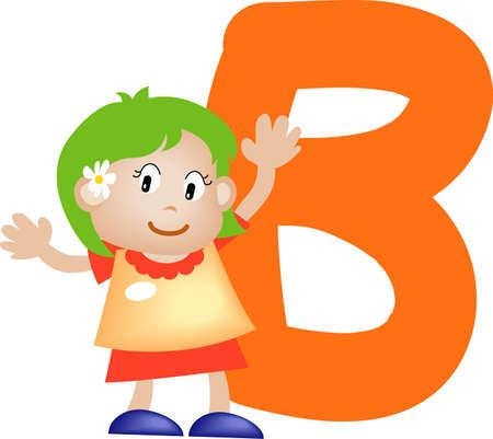 literal: Girl with Alphabet letter B