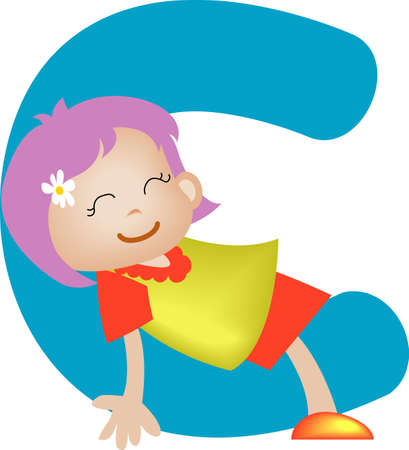 Girl with Alphabet letter C Stock Photo