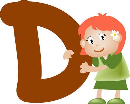 comunicación escrita: Chica con la letra d Alfabeto
