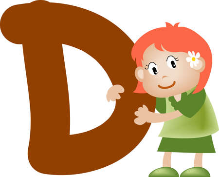 written text: Girl with Alphabet letter d Stock Photo