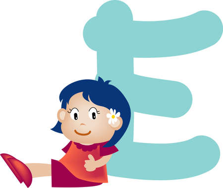 Girl with Alphabet letter e photo