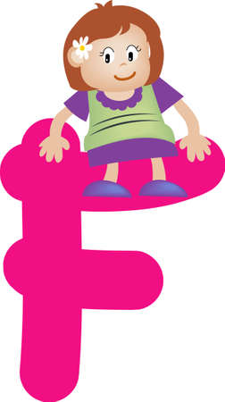 Girl with Alphabet letter f Stock Photo - 3207844