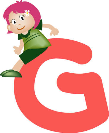 writing materials: Girl with Alphabet letter g Stock Photo