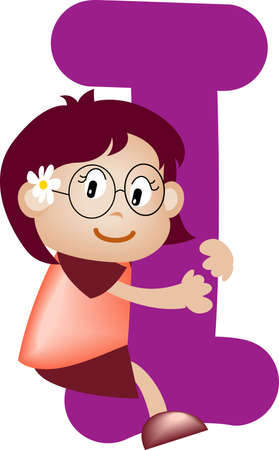 orthographic: Girl with Alphabet letter i